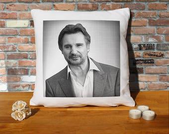 Liam Neeson Pillow Cushion - 16x16in - White