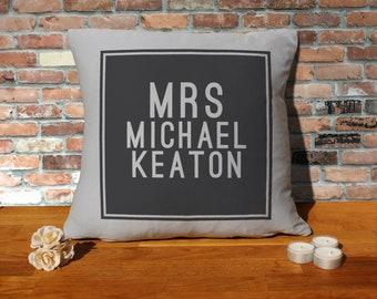 Michael Keaton Pillow Cushion - 16x16in - Grey
