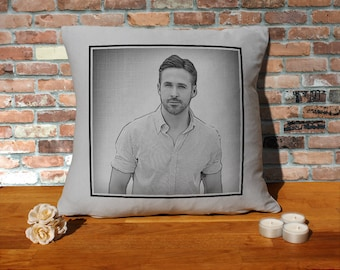 Ryan Gosling Pillow Cushion - 16x16in - Grey