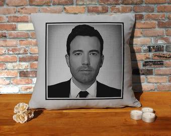 Ben Affleck Pillow Cushion - 16x16in - Grey
