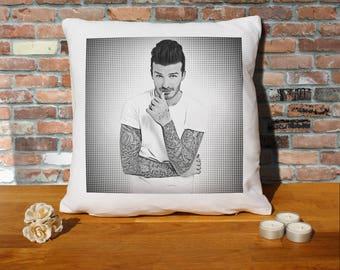 David Beckham Pillow Cushion - 16x16in - White
