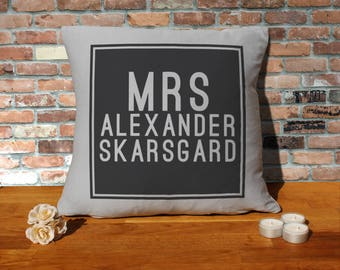 Alexander Skarsgard Pillow Cushion - 16x16in - Grey