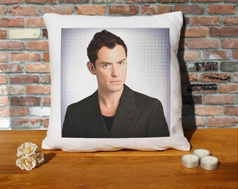 Jude Law Pillow Cushion - 16x16in - White