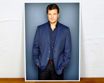 Nathan Fillion Poster Print - Colour and BW - 2 sizes - A4 and A3