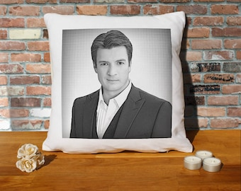 Nathan Fillion Pillow Cushion - 16x16in - White