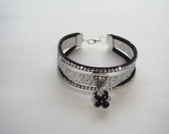 Bracelet silver lurex and suede Ribbon