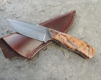Custom Damascus Hunting Knife