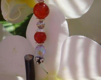 Orange carnelian and agate earrings