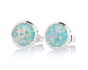Sterling Silver Cufflink set with Green Opals UK made