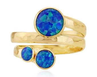 9ct Gold Spiral Ring with Dark Blue Opals