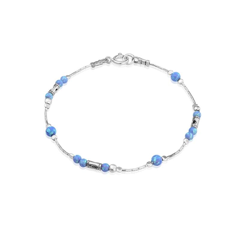 Silver and Blue Opal Bracelet