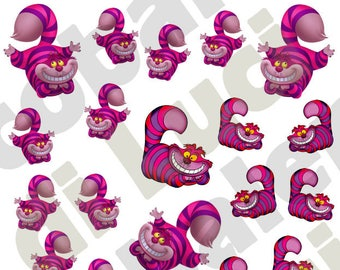 Set Water Decals Cheshire Cat Nail nail art stickers tattoo sheet cartoons stickers  Alice's Adventures in Wonderland