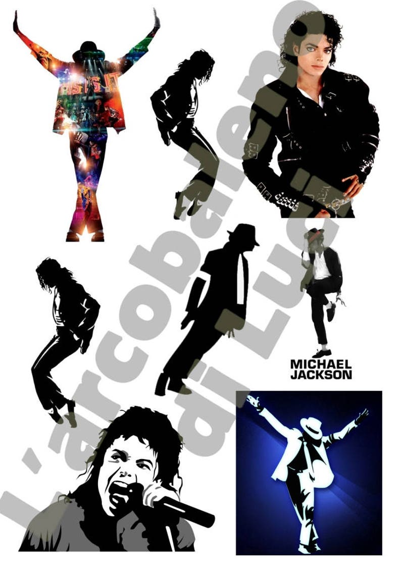 Set of 8 Stickers Michael Jackson printed vinyl cartoon Waterproof cutout  to Plotter format A4 or A3 for car or moto jacko singer