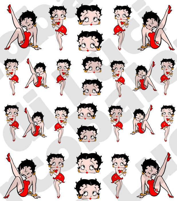 Betty Boop Nails: Set Water Decals Betty Boop Nail Nail Art Stickers Tattoo
