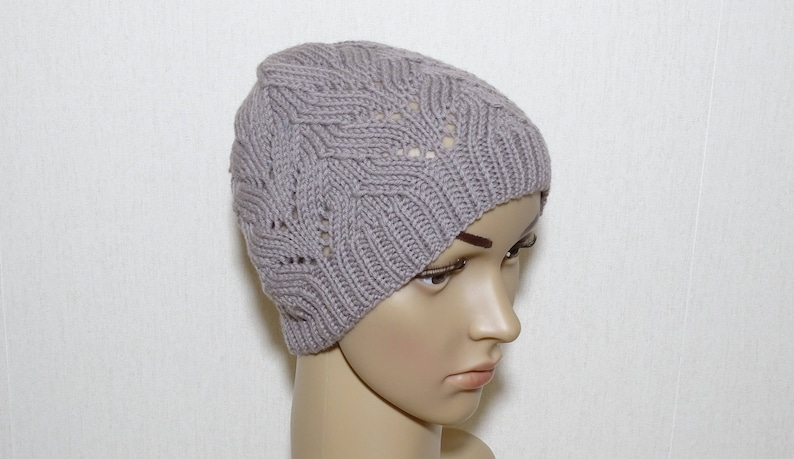f32e61bbc5a Beige hand knitted hat merino wool hat lace hat womens knit