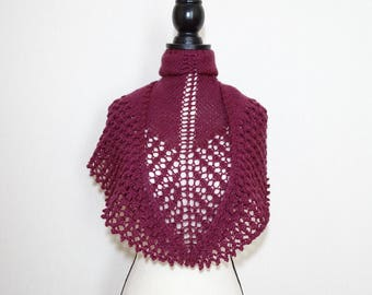 Red burgundy hand knitted lace shawl, red wool lace shawl, triangle shawl, warm shawl, kerchief, gift for her
