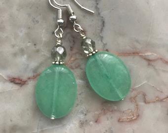 Mint Green Oval Glass Earrings