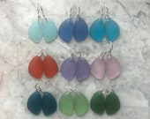 Frosted Eclipse Sea Glass Earrings in 9 colors with Sterling Silver Earwires