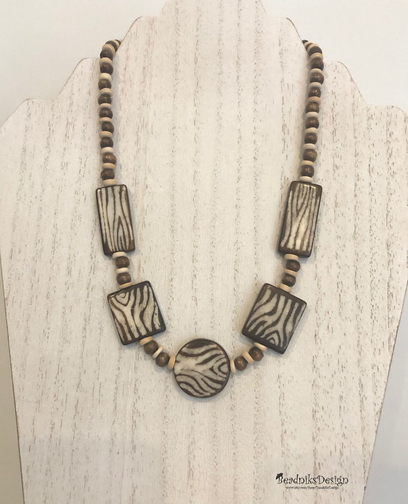 Brown Zebra Bone Bead Necklace and Earring Set