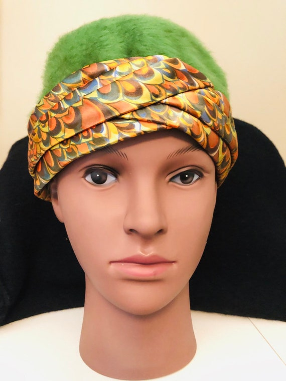 1960s-1970s vintage green mohair,wool cloche hat,b