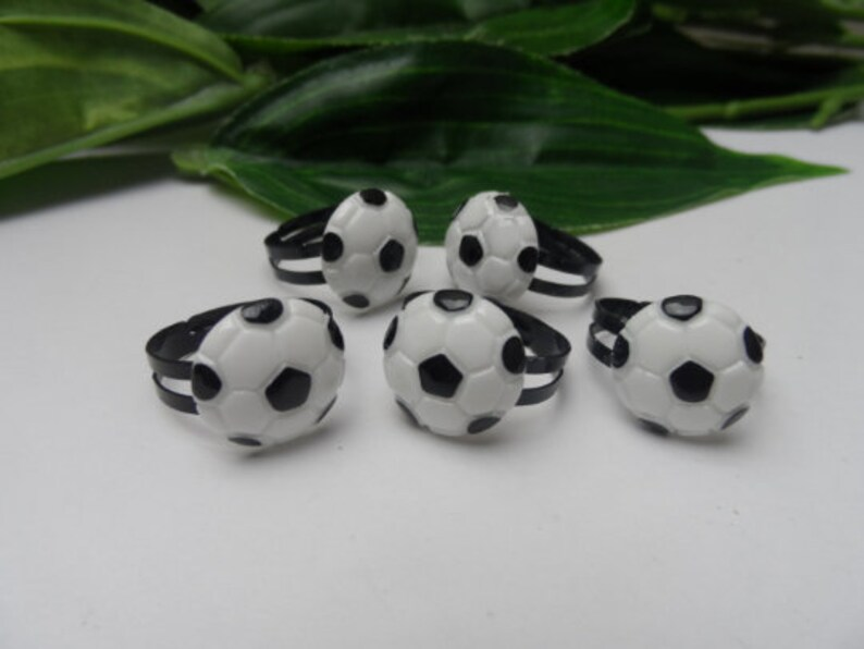 socce rball party favors boys party favors football party favors Boys set of 5 Football adjustable rings birthday gifts
