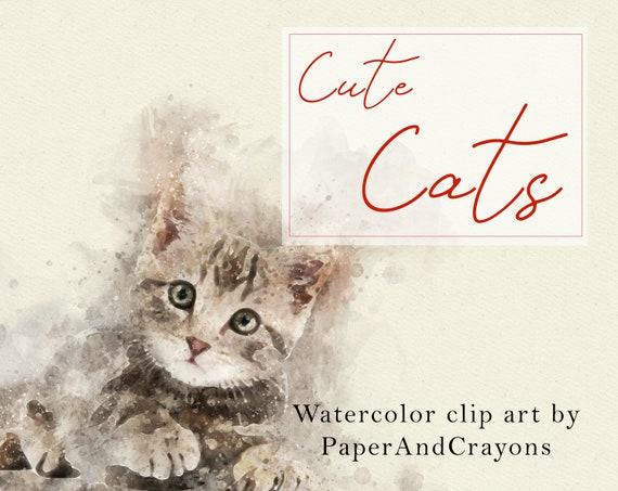 Cat Clipart Cute Cats Watercolor Clip Art Kitten Diy Etsy