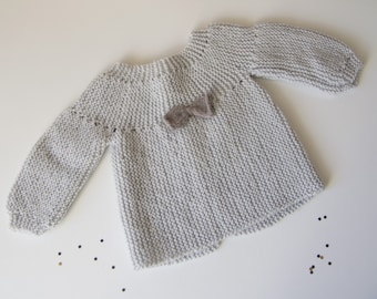 ef648b2e4e8905 Life jacket baby wool in garter stitch baby Cardigan