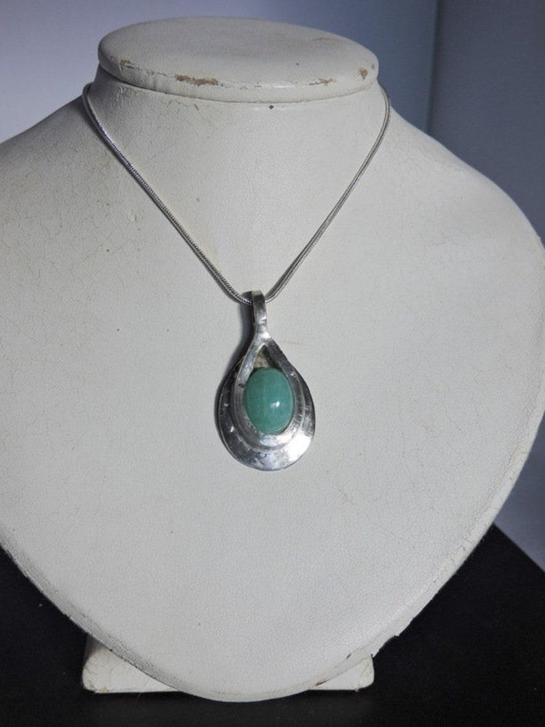 blue jewelry Amazonite necklace neck natural stone jewelry artisan fine stone designer tin and silver setting