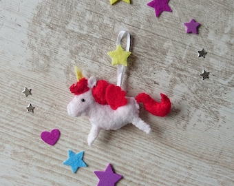Plush Unicorn ~ felt ~ Unicorn Keychain ~ Unicorn