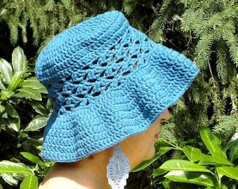 Sun Hat, summer, beach, gardening, Denim Blue crochet cotton Ribbon, Openwork, lace Cape