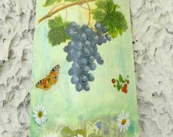 """Tile for wall hanging """"bunch of grapes and Daisies"""""""