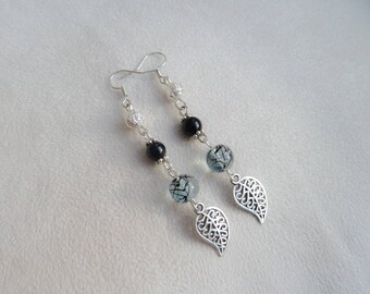 Earrings silver leaves and pearls