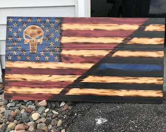 Punisher American/Thin Blue Line Flag