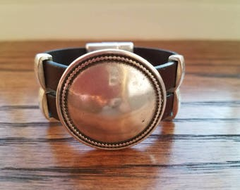 Sterling silver bracelets, beaded bracelets, womens bracelets, silver bracelet, leather bracelet, sterling silver disc bracelet
