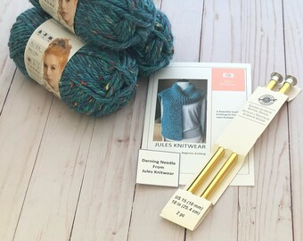 Beginner knitting kit. Scarf knitting kit. Knit scarf. Learn to knit. Key Largo Tweed yarn. Knitted scarf. Teach yourself to knit kit.