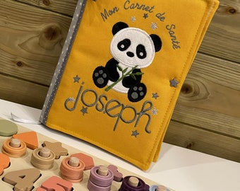 Protects health notebook, customizable, first name, panda model, fleece, modifiable main color