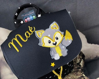Children's backpack, personalized (first name, pattern) size 2/3, years old, fox pattern, maternal bag, black and yellow, children's school bag