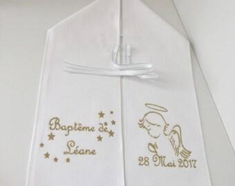 0ff6d4b2512f Echarpe de baptême, brodée, personnalisé, avec prénom, modèle ange, broderie  couleur au choix, echarpe personnalisable, baptême garçon