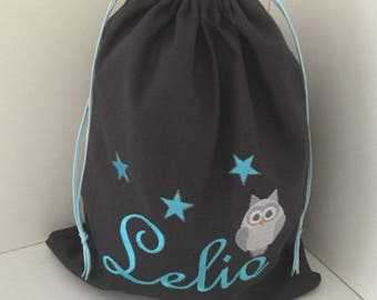 Cotton embroidered personalized name and OWL motif size 25X30cm