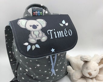 Children's backpack, personalized (first name, pattern) size 2/3, aged 2, anthracite koala