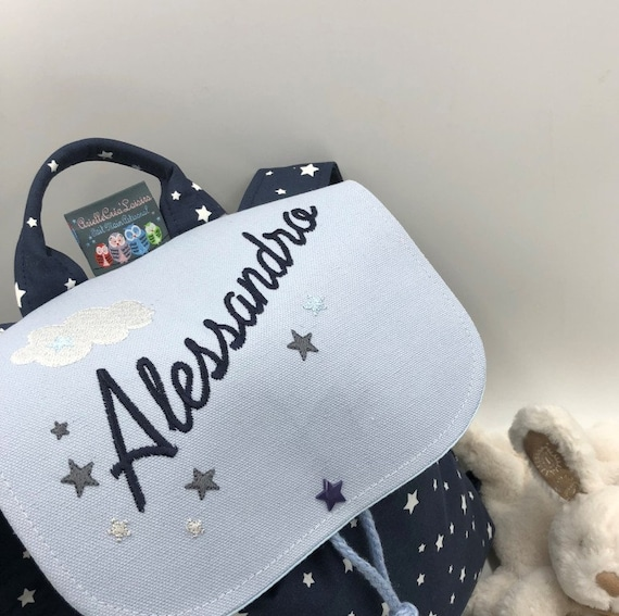 Navy Blue Backpack child sky name, pattern personalized size 23 years