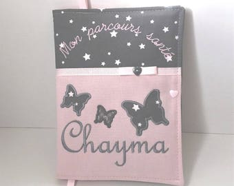 Protects health card personalized with name model butterflies snap closure