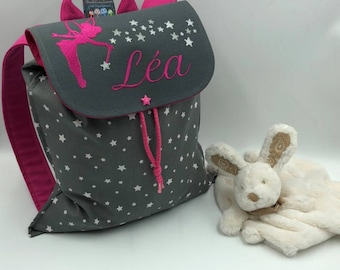 Child backpack, personalized, maternal (first name, pattern) size 2/3 years, fairy pattern