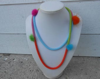 """Long necklace beads and tassel """"necklace in colors of summer"""""""