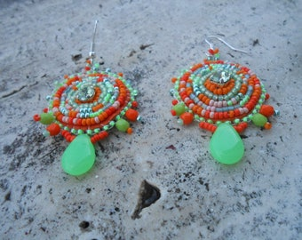 "Embroidered ""Amanda"" beaded earrings"