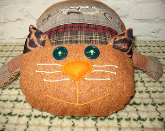 Well-fed Cat, Cat Cushion, Soft Toy, Patchwork Cat, Stuffed Cat