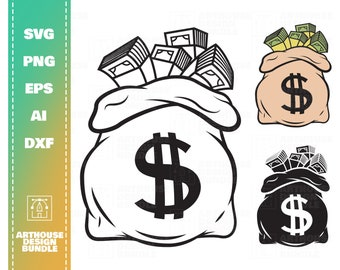 Bag of Money Svg Dollar Svg Moneybag Clipart Money Silhouette Cutting Files Money Vector Moneybag Svg File