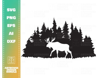 Moose in the Tree Clip Art