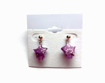 Purple Origami star earrings