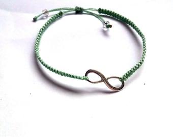 macrame bracelet green, infinity charm